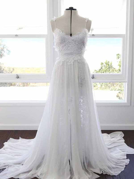 Long A-Line Pretty Wedding Dresses With Appliques,Spaghetti Straps Wedding Dresses Online,Custom Made Wedding Dresses,VPWD059