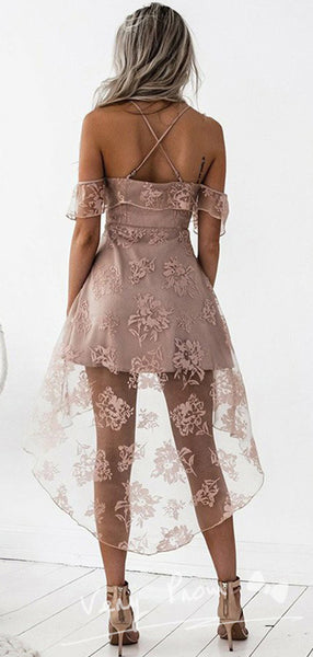 A-Line Spaghetti Straps Cross Back Off Shoulder High Low Homecoming Dresses With Appliques,VPBD591