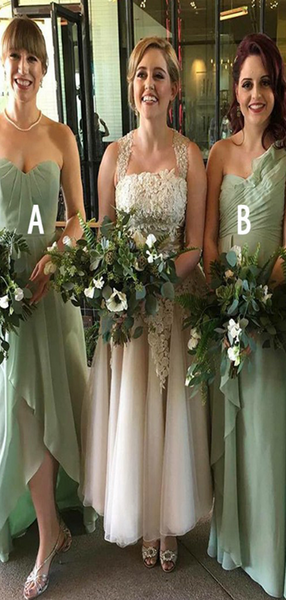 A-Line Sweetheart&One Shoulder&Spaghetti Straps Mint Chiffon Long Bridesmaid Dresses,VPWG592