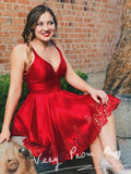 Simple A-Line Deep V-Neck Spaghetti Straps Red Short Homecoming Dresses,VPBD594