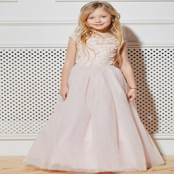 Awesome A-Line Tulle Floor Length Flower Girl Dresses With Cap Sleeves,Appliqued Flower Girl Dresses,FG059