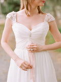 Fantastic Cap Sleeve Beaded Unique Cheap Beach Wedding Dresses,VPWD020