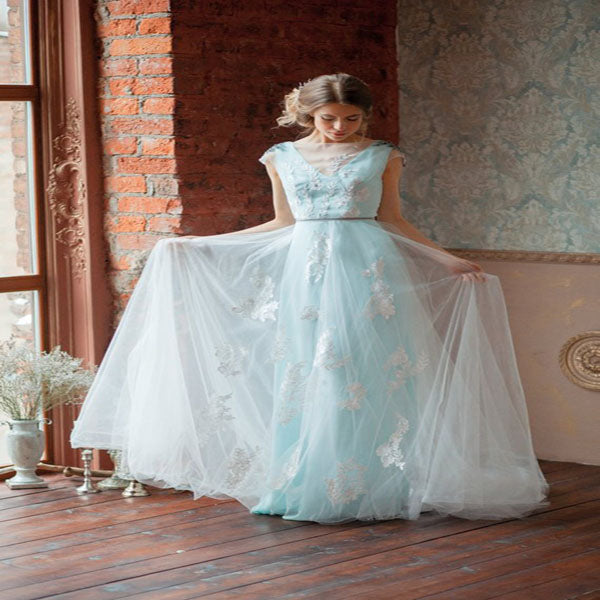 Alluring A-Line See Through V-Neck Blue Tulle Sleeveless Long Wedding Dresses With Open Back,VPWD060