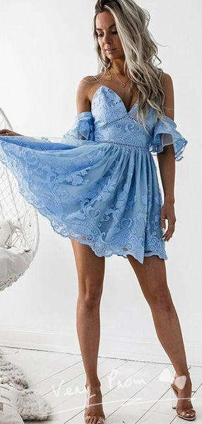 A-Line V-Neck Spaghetti Straps Off Shoulder Lace Short Homecoming Dresses Online,VPBD602