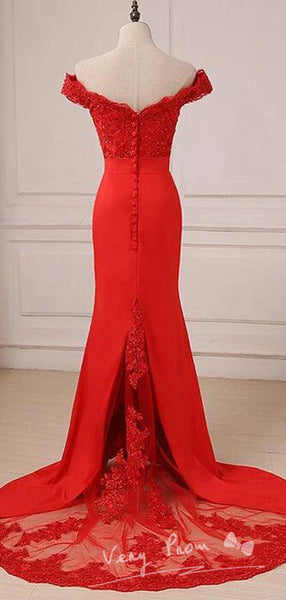 Mermaid Off Shoulder Red Lace Long Prom Dresses With Lace,VPPD603