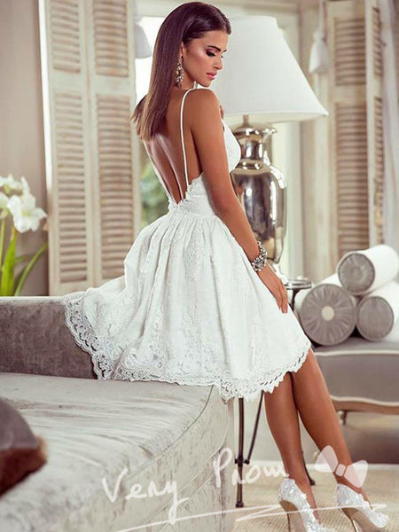A-Line V-Neck Spaghetti Straps Lace Homecoming Dresses With Open Back,VPBD605