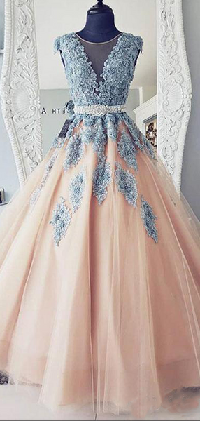 A-Line Cap Sleeves Lace Ball Gown Tulle Long Prom Dresses,VPPD607