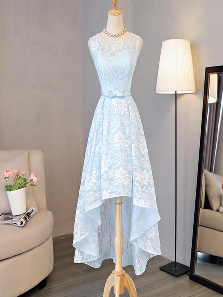 Lace High Low Homecoming Prom Dresses, Affordable Short Party Prom Sweet 16 Dresses, Perfect Homecoming Cocktail Dresses,Light Blue Homecoming Dresses With Scoop Neckline,VPBD060