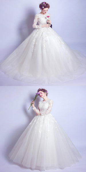Elegant Cap Sleeve Wedding Dresses With Appliques,2018 Lace Wedding Dresses Online,VPWD061