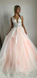 A-Line Two Straps V-Neck Peach Tulle Long Prom Dresses With Lace,VPPD612