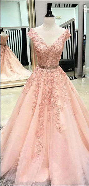 A-Line Cap Sleeves V-Neck Peach Tulle Long Prom Dresses,VPPD613