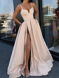 A-Line Side Slit Spaghetti Straps Satin Long Prom Dresses,VPPD614