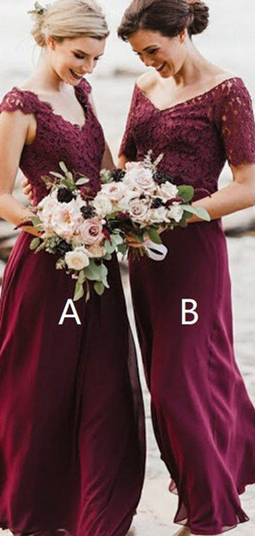 A-Line V-Neck Cap Sleeves Burgundy Chiffon Long Bridesmaid Dresses With Lace,VPWG614