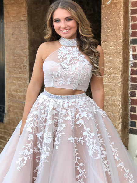 2019 A-Line Two Pieces Long Prom Dresses With Spaghetti Straps,Appliqued Prom Dresses,Evening Dresses,VPPD062