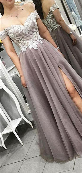Pretty Off Shoulder Side Slit Grey Long Prom Dresses With Lace,VPPD627
