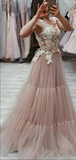 See Through A-Line V-Neck Long Prom Dresses With Lace,VPPD628