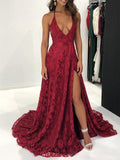 Sexy Deep V-Neck Spaghetti Straps Side Slit Long Prom Dresses,VPPD635