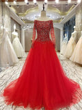 A-Line Off Shoulder Long Sleeves Red Long Prom Dresses With Beading,VPPD639