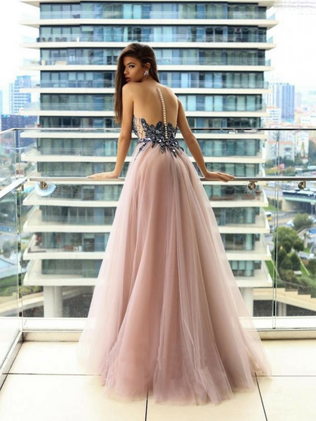 A-Line Round Neck Appliqued Long Prom Dresses With Beading,VPPD647