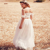 Fabulous A-Line Two Pieces Tulle Long Beach Wedding Dresses Online,VPWD065