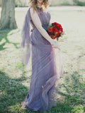 A-Line Sweetheart Lilac Convertible Tulle Long Bridesmaid Dresses,VPWG652