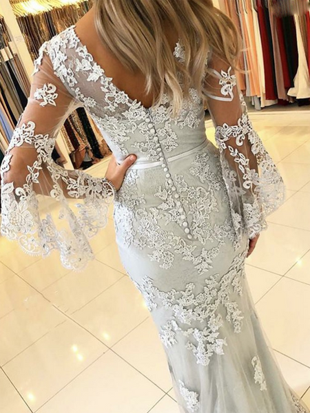 Sexy Mermaid V-Neck Long Sleeves Floor Length Prom Dresses With Lace,VPPD656
