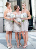 2019 Sweetheart Neckline Grey Short Bridesmaid Dresses With Lace,Custom Made Bridesmaid Dresses,Affordable Bridesmaid Dresses,VPWG065