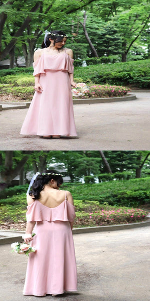 Elegant A-Line Chiffon Pink Off Shoulder Long Bridesmaid Dresses With Spaghetti Straps,VPWG066