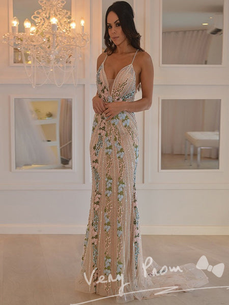 New Arrival Mermaid Spaghetti Straps Floor Length Prom Dresses,Sexy Open Back Prom Dresses With Appliques,VPPD066