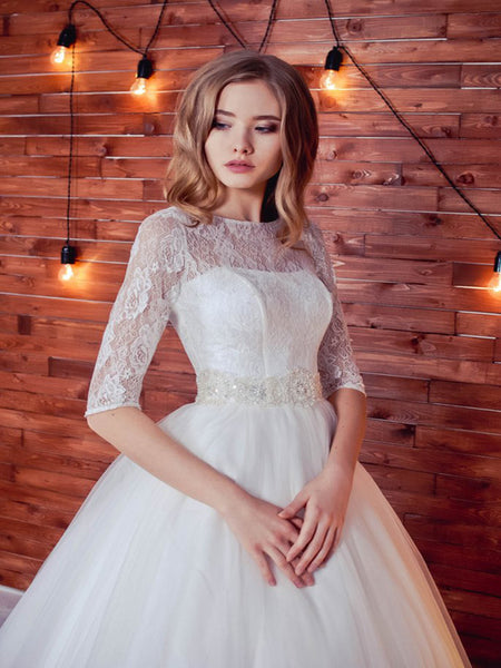 Romantic A-Line Wedding Dresses With Long Lace Sleeve,Charming Wedding Party Dresses Online,VPWD066