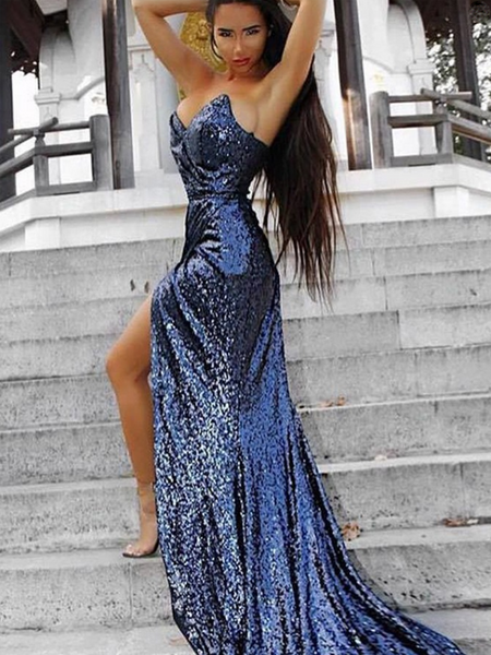 Sparkly Mermaid Sweetheart Side Slit Sequined Long Prom Dresses,VPPD675