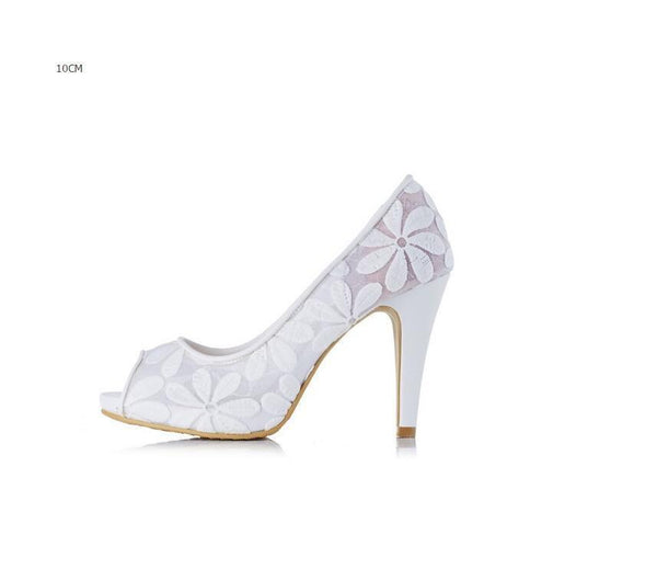 Lace Fish Toe White High Heels Wedding Bridal Shoes, S015