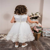 Elegant White Tulle Soft Satin Sleeveless Flower Girl Dresses With Lace,Simple Cheap Flower Girl Dresses,FG070