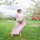 Alluring A-Line Light Pink Sleeveless Chiffon Long Bridesmaid Dresses With V-Neck,VPWG071