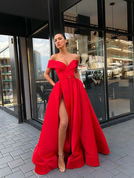 2019 A-Line Off Shoulder Side Slit Red Long Prom Dresses,VPPD710