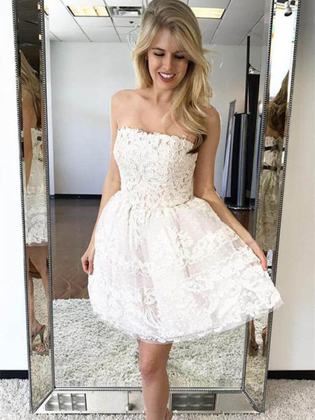 Elegant Tulle Strapless Neckline Short Length A-line Homecoming Dresses With Appliques ,VPBD072