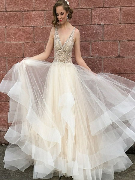 Beautiful A-Line V-Neck Tulle Light Champagne Backless Long Prom Dresses With Beading,VPPD072