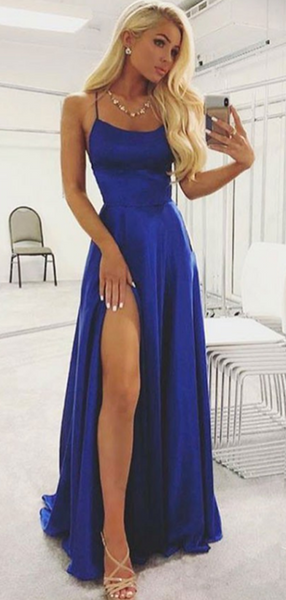 A-Line Royal Blue Halter Side Slit Sleeveless Long Prom Dresses,VPPD730