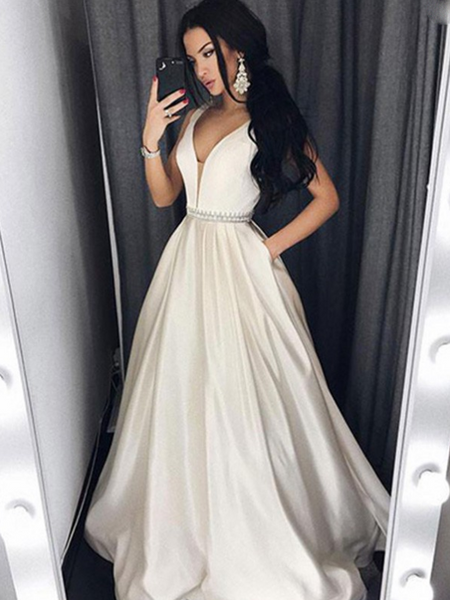 A-Line Deep V-Neck Sleeveless Beaded Long Prom Dresses With Pockets,VPPD749