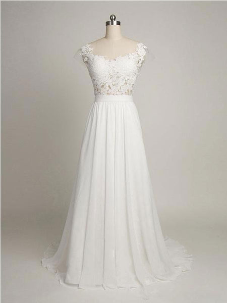 See Through Cap Sleeve Lace Simple Cheap Beach Wedding Dresses With Backless,VPWD073
