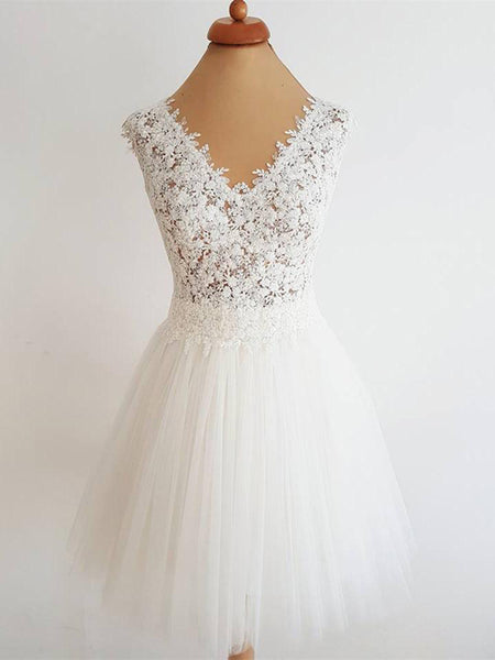 Romantic Tulle V-Neck A-line Homecoming Dresses With Appliques,White Tea-Length Homecoming Dresses,VPBD074