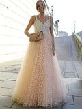 Champagne Tulle Floor-Length Pearl Pink Prom Dresses With Spaghetti Straps,Beautiful Evening Party Gowns,VPPD076