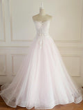 Pale Pink Long Custom Cheap Custom Wedding Dresses With Strapless,VPWD074