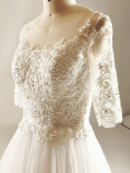 Empire Lace Beaded Wedding Dresses, Custom Made Wedding Dresses, Cheap Wedding Bridal Gowns With Long Sleeve,VPWD076
