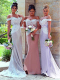 Glamorous Chiffon Off-the-shoulder Neckline Sheath Bridesmaid Dresses With Appliques ,VPWG078
