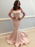 Mermaid Off Shoulder Champagne Satin Floor Length Prom Dresses,VPPD079