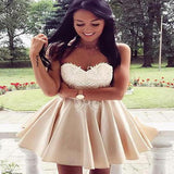 Ivory A-line Sweetheart Satin Short Simple Homecoming Dresses,VPBD007