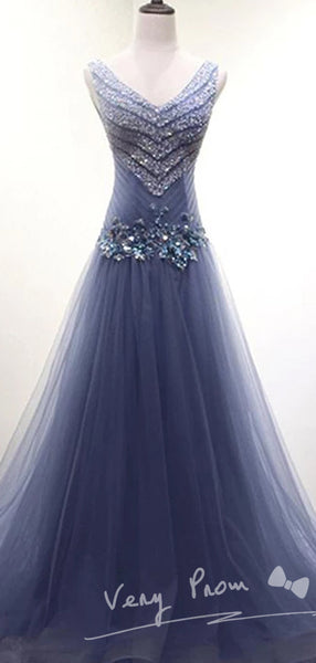 2019 New V Neck Dusty Blue Beaded A-line Long Evening Prom Dresses,VPPD015
