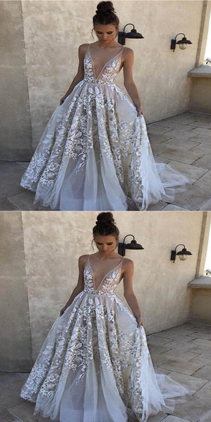 2019 Elegant White See Through Long Prom Dresses,A-Line Evening Prom Dresses,Custom Made Prom Dresses,VPPD080