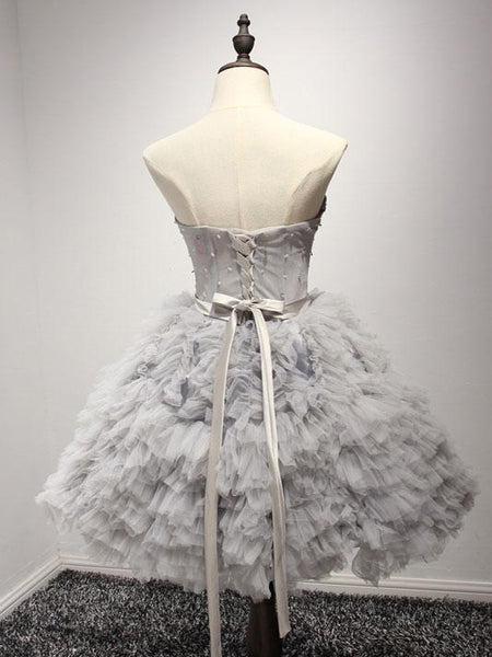 Fabulous Ball-Gown Sweetheart Mini Tulle Short Grey Homecoming Dresses,Affordable Homecoming Dresses,VPBD080